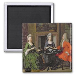 A Tea Party (oil on canvas) Magnet