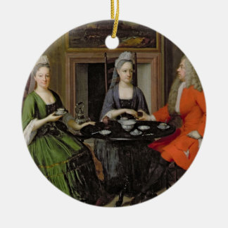 A Tea Party (oil on canvas) Round Ceramic Decoration