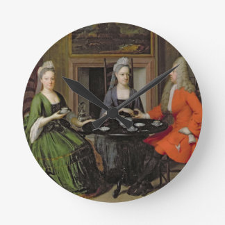 A Tea Party (oil on canvas) Round Clock