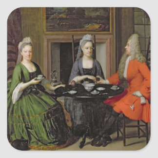 A Tea Party (oil on canvas) Square Sticker