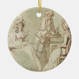 A Tea Party (pen & ink, pencil & w/c on paper laid Round Ceramic Decoration