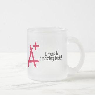 A+ Teacher 10 Oz Frosted Glass Coffee Mug
