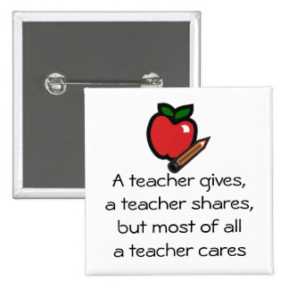 A teacher cares 15 cm square badge