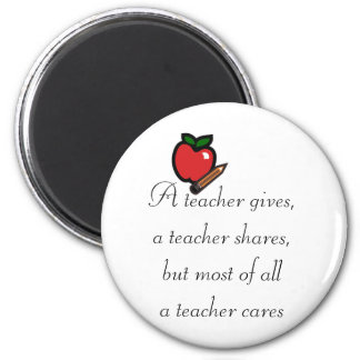 A teacher cares 6 cm round magnet