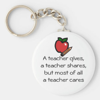 A teacher cares basic round button key ring