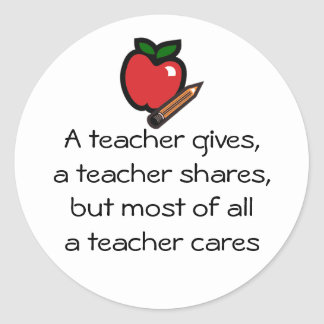 A teacher cares classic round sticker