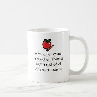 A teacher cares coffee mug