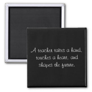 A teacher takes a hand, touches a heart, and sh... square magnet