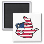 A Teapot in American Flag Colours Square Magnet