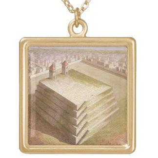 A Teocalli in Mexico (colour engraving) Gold Plated Necklace
