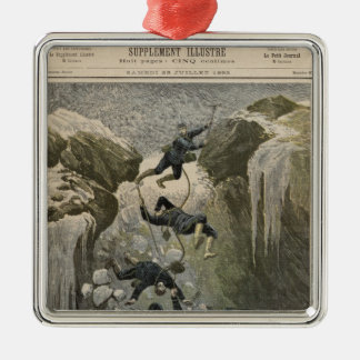 A Terrible Accident in the Alps Silver-Colored Square Decoration