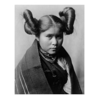 A Tewa Indian girl with fancy hairstyle Poster