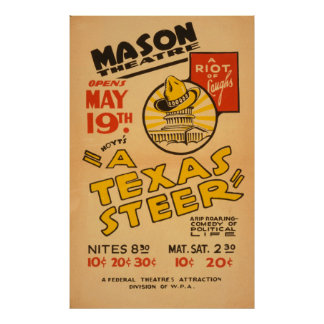 A Texas Steer At The Mason Theater Vintage WPA Poster