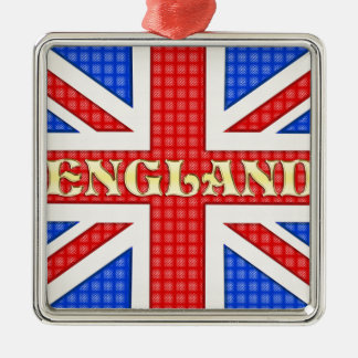 A textured Union Jack flag with England written ac Square Metal Christmas Ornament