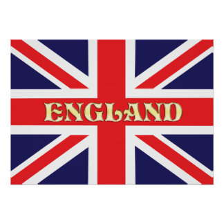 A textured Union Jack flag with England written on Poster