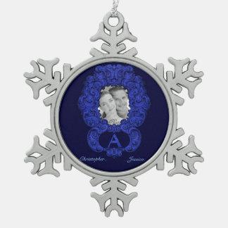 A- The Falck Alphabet (Blue) Pewter Snowflake Decoration