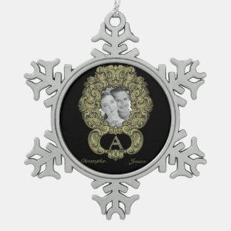 A- The Falck Alphabet (Golden) Pewter Snowflake Decoration