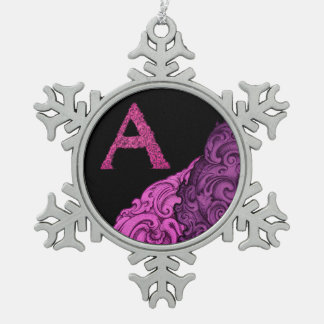 A- The Falck Alphabet (Pink) Pewter Snowflake Decoration