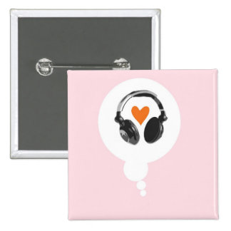 A thought bubble with a heart and headphones 15 cm square badge