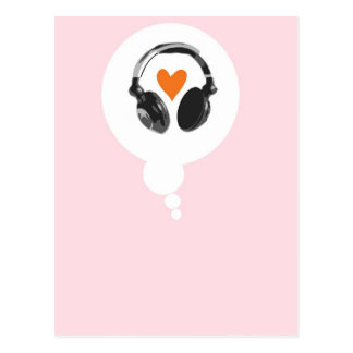 A thought bubble with a heart and headphones postcard