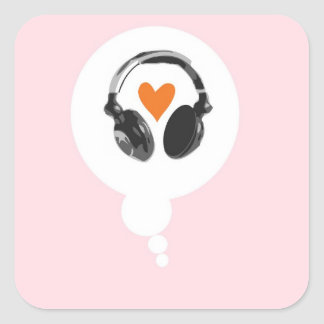 A thought bubble with a heart and headphones square sticker