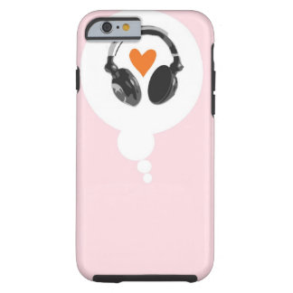 A thought bubble with a heart and headphones tough iPhone 6 case