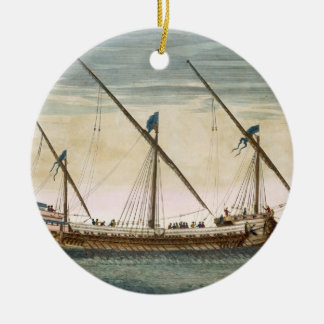 A three-masted Galleass under way by oar, from 'Le Christmas Ornament
