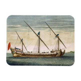 A three-masted Galleass under way by oar, from 'Le Rectangular Photo Magnet