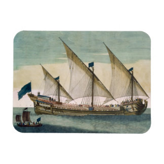 A three-masted Galleass under way by sail, oars sh Rectangular Photo Magnet