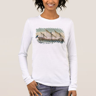 A three-masted Galleass under way by sail, oars sh Long Sleeve T-Shirt