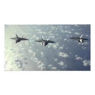 A three-ship formation of F-22 Raptors Photo Print