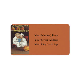 A Thrilling Halloween Vintage Address Label