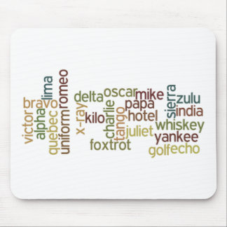 A Through Z Phonetic Alphabet Telephony (Wordle) Mouse Mat
