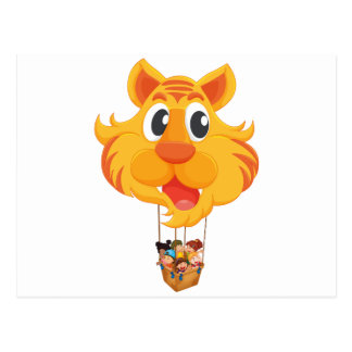 A tiger balloon with a basket full of kids postcard