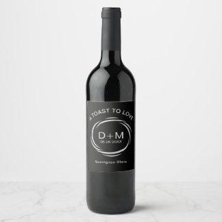 A Toast to Love Sleek Modern Custom Wedding Wine Label