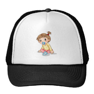 A toddler with a pacifier trucker hat