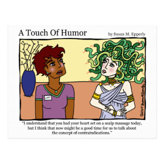 """A Touch of Humor"" Medusa Massage Comic Postcard"