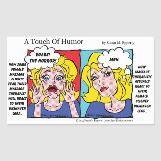 """""""A Touch of Humor"""" Unshaven Legs Comic Rectangular Stickers"""