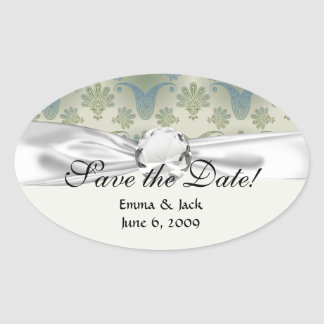 a touch of peacock damask design oval sticker