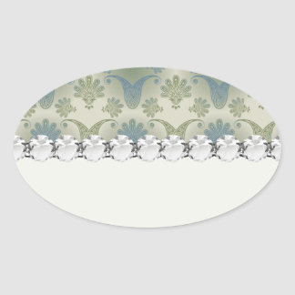 a touch of peacock damask design oval stickers