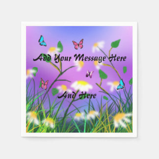 A Touch Of Spring Add Your Message Template, Disposable Serviette