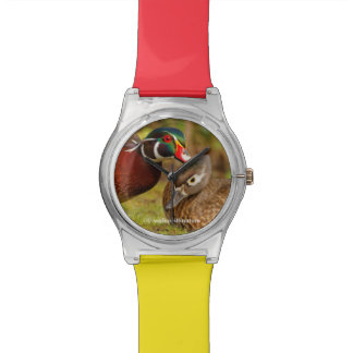 A Touching Moment Between Wood Ducks in the Woods Wrist Watches