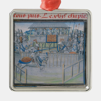 A Tournament in London: Jousting Silver-Colored Square Decoration