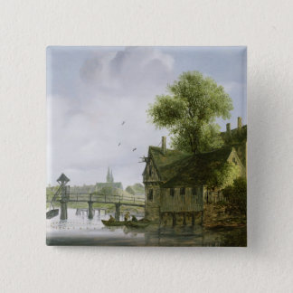 A Town on a river with a bridge 15 Cm Square Badge