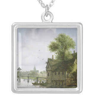 A Town on a river with a bridge Silver Plated Necklace