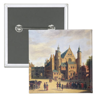 A Town Square in Haarlem 15 Cm Square Badge