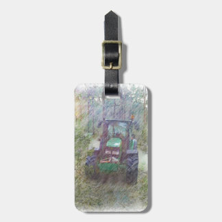 A tractor in the forest luggage tag