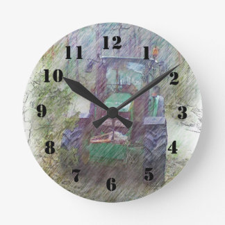 A tractor in the forest round clock