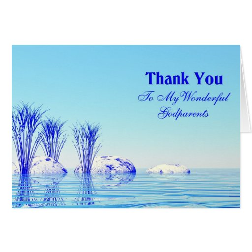 A tranquil scene thank you godparents card