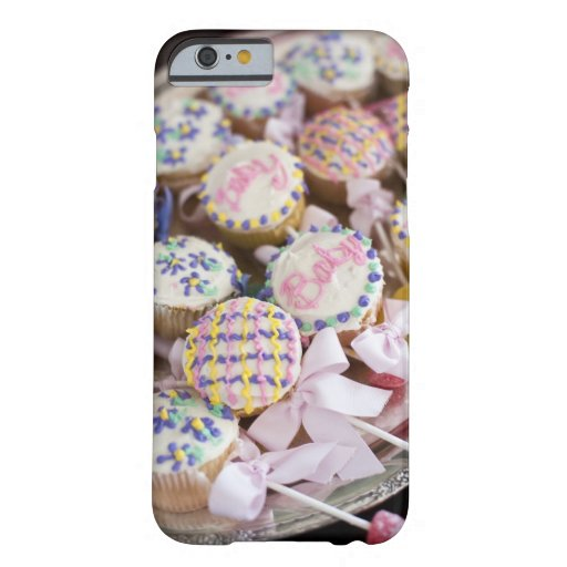 A tray of baby rattle cupcakes at a baby shower. iPhone 6 case